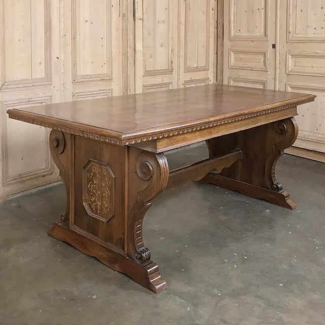 Baroque Antique Italian Baroque Inlaid Walnut Draw Leaf Dining Table For Sale - Image 3 of 13
