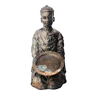 Late 20th Century Qing Bronze Verdigris Figurine For Sale