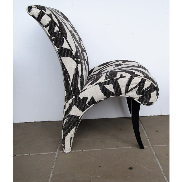 In bold abstract black and white designed fabric are this set of six dining chairs by Thayer Coggin. The set include two...
