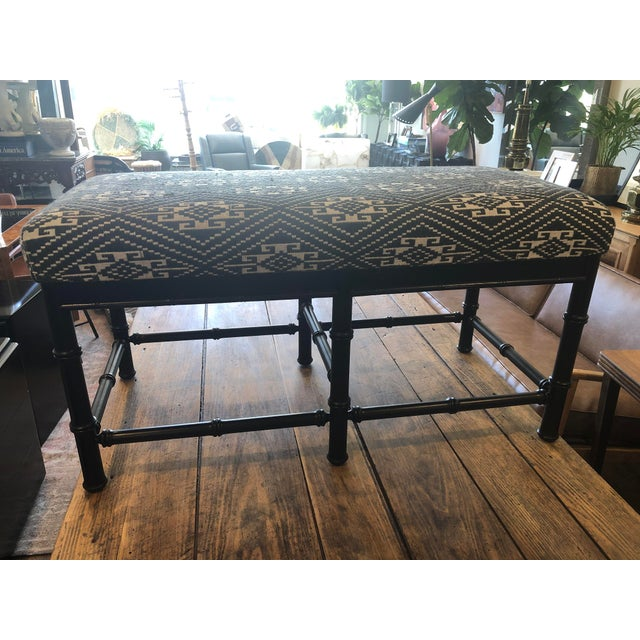Mid-Century Faux Bamboo Bench W Indonesian Jacquard Textile For Sale - Image 4 of 6