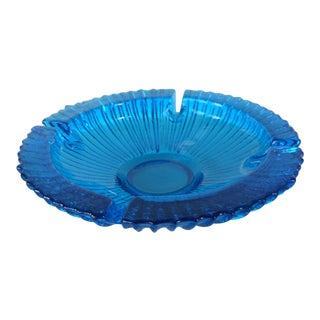 Mid-Century Blenko Art Glass Blue Ashtray Designed by Wayne Husted For Sale