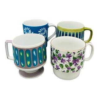 Mismatched 1960's Ceramic Pedestal Mugs - Set of 4 For Sale