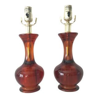 Vintage Glam Mid-Century Acrylic Amber Table Lamps - a Pair For Sale