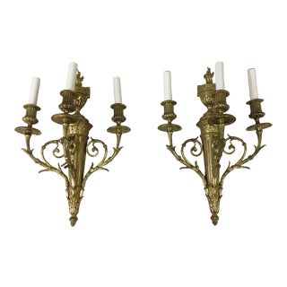 1950s Vintage French Gilt Brass 3 Arm Wall Light Sconce - a Pair For Sale
