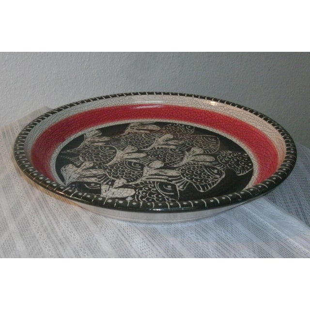 Figurative Large Deep Crackle Ceramic Swimming Fish Platter Hand Signed & Numbered For Sale - Image 3 of 11