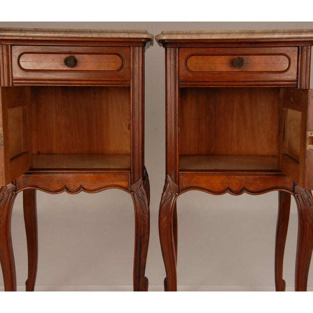 Victorian French Victorian Nightstands on Castors Rose Veneer Carved Wood Marble Top - a Pair For Sale - Image 3 of 12