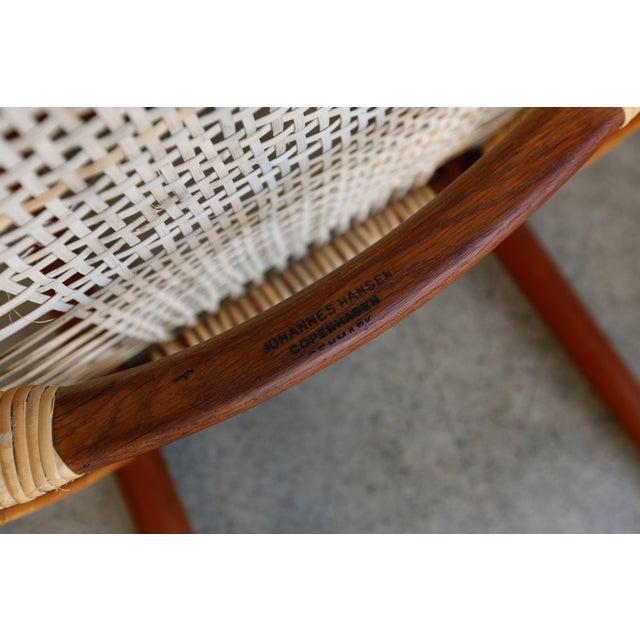 Mid-Century Modern Johannes Hansen for Hans Wegner Round Teak Side Chair For Sale - Image 9 of 12