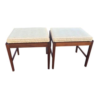 Swedish Teak Stools With Cushions - A Pair For Sale
