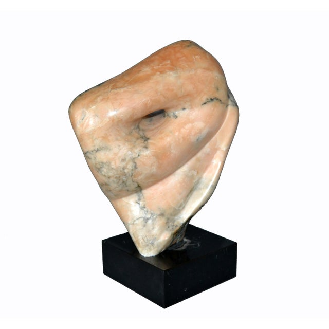 Mid Century signed abstract marble sculpture by Shapiro mounted on a black marble base. Note the stunning natural grain...