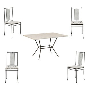 Mid-Century Modern Marble-Top Patio Dining Set - 5 Pieces For Sale