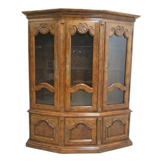 Vintage Century Furniture Country French Oak China Cabinet For Sale