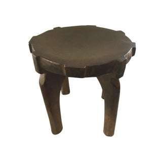 """African Old Wood Milk Stool Hehe Gogo People Tanzania 11"""" H by 13.5"""" D For Sale"""
