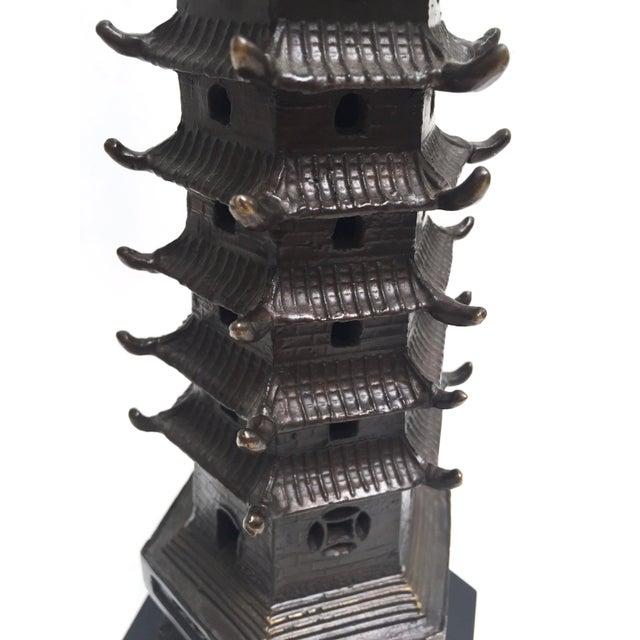 Vintage Metal Pagoda Figurine on Wood Base - Image 8 of 9