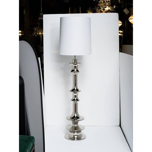 Gothic Pair of Dramatic Hollywood Regency Sculptural Floor Lamps in Nickel For Sale - Image 3 of 11