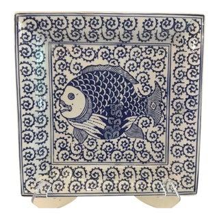 Vintage Ceramic Ceramic Fish Plate For Sale