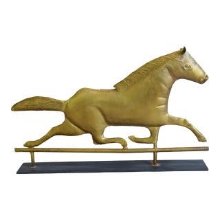Vintage Brass Horse Weathervane W/ Stand