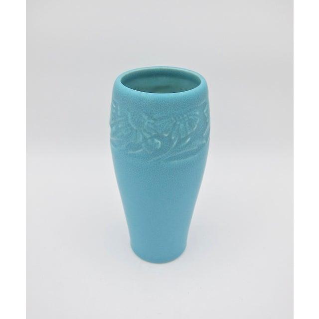 Rookwood Pottery 1930 Vintage Rookwood Pottery Arts & Crafts Blue Sunflower Vase For Sale - Image 4 of 12