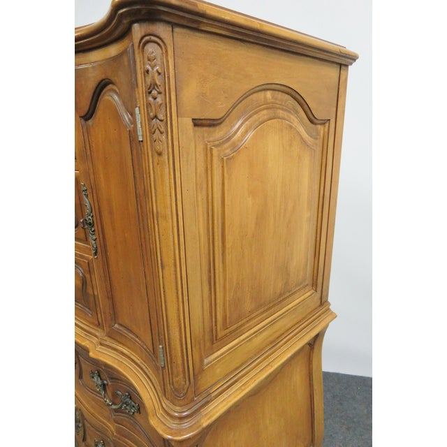 Brown French Vanleigh Carved Fruitwood Chest of Drawers For Sale - Image 8 of 11
