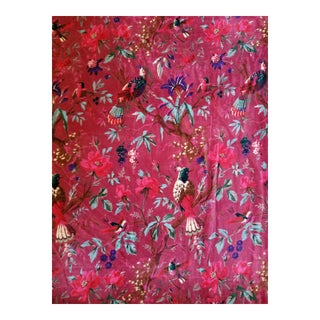 Cotton Velvet Plum Chinoiseri Bird Fabric, 3yds