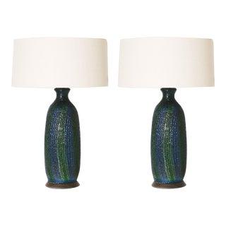 Pair of Multi-Colored Ceramic Lamps, C. 1960 For Sale