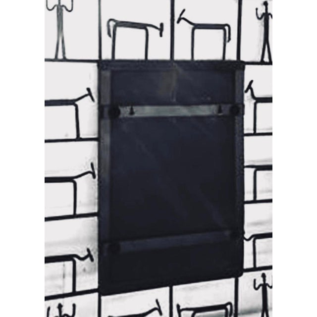 Mid-Century Modern 1950s Frederick Weinberg Wrought Iron Brutalist Sculpture Wall Mirror For Sale - Image 3 of 3
