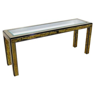 1960's Mid-Century Modern Bernard Rohne Mastercraft Acid Etched Console Table For Sale