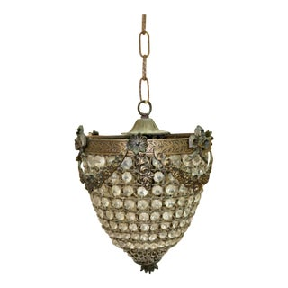 Antique French Ormolu Bronze & Crystals Bag Chandelier For Sale