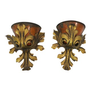 Antique Toile & Gilded Iron Wall Pockets - a Pair For Sale