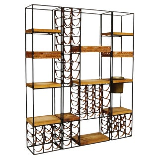 Arthur Umanoff Room Divider With Leather Wine Racks and Butcher Blocks, 1950s For Sale