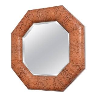 Vintage Karl Springer Style Wall Mirror Python Snakeskin For Sale