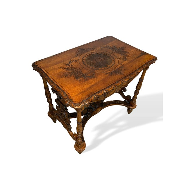 1880s Italian Hand Carved Walnut Center Table For Sale - Image 4 of 9