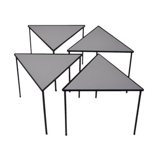 1960s Mid-Century Modern Triangle Stacking Side Tables - Set of 4 For Sale