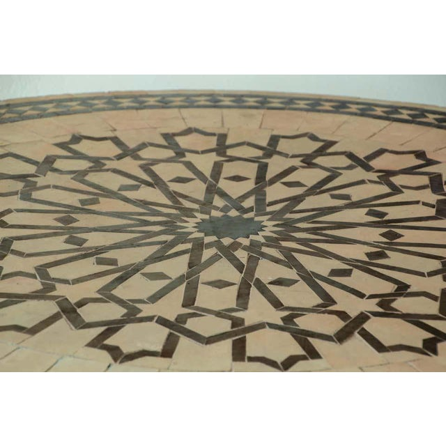 Moroccan Mosaic Outdoor Tile Table in Fez Moorish Design For Sale - Image 9 of 11