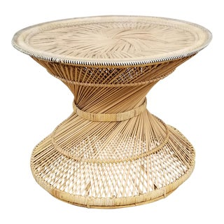 Woven Rattan Hourglass Side Table