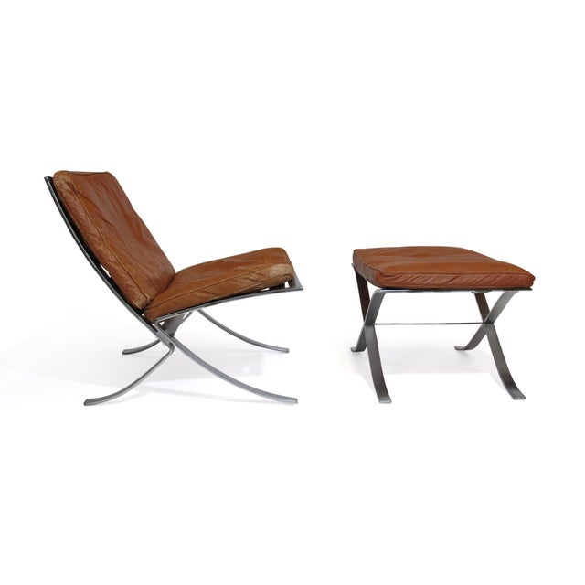 Brown Steen Ostergaard Steel and Leather Lounge Chair & Foot Stool For Sale - Image 8 of 13