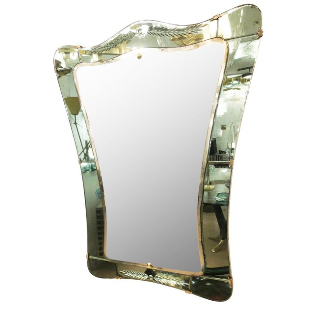 Italian Cristal Art Mirror, Italy, 1950's For Sale - Image 3 of 8