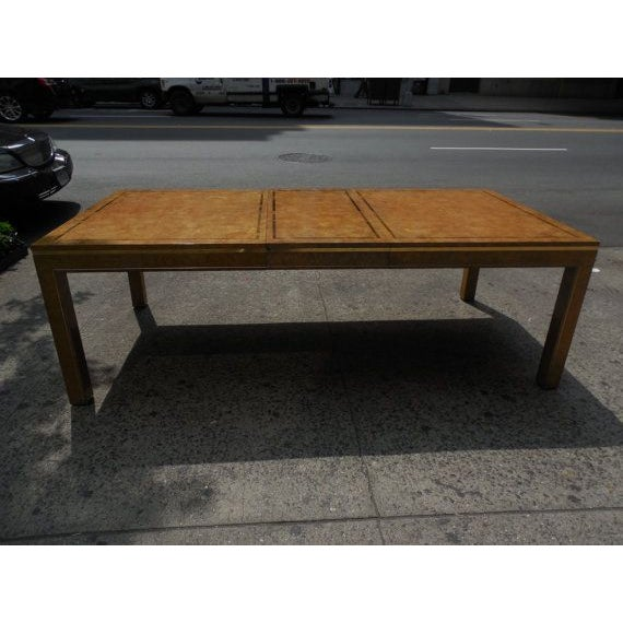 Mastercraft Burlwood & Brass Parsons Dining Table For Sale In New York - Image 6 of 7