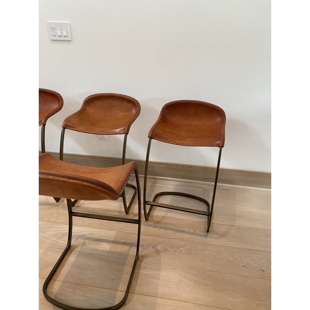 Custom Made Emmerson Troop Leather and Brass Bar Stools - Set of 5 For Sale - Image 9 of 10