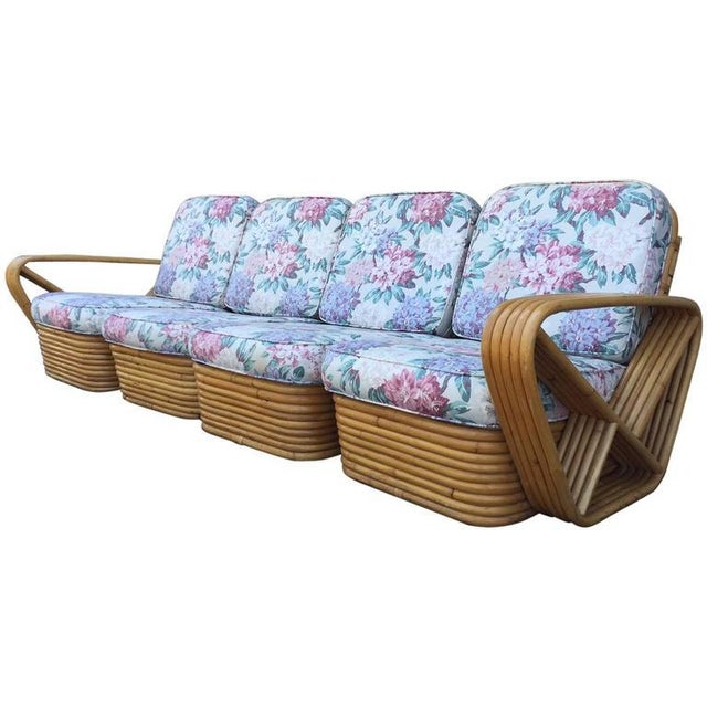 1960s Square Pretzel Rattan Sofa Style of Paul Frankl For Sale - Image 5 of 5