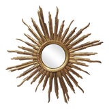 Image of French Convex Sunburst Gilded Wood Mirror For Sale