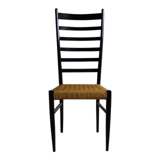 Gio Ponti Italian Modern Chair w/ Woven Rope Seats & Ladderbacks For Sale