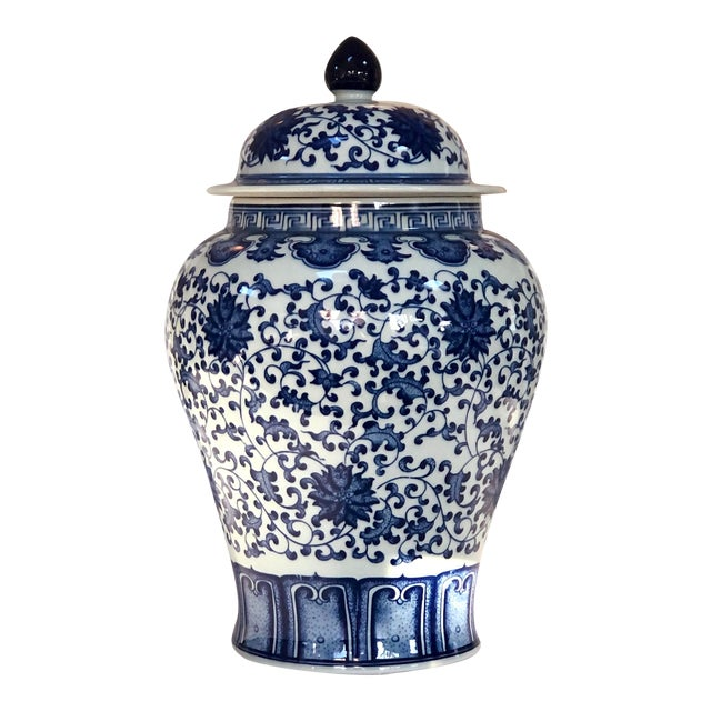 "Blue and White Large Porcelain Ginger Jar With Lid, 16"" Urn For Sale"