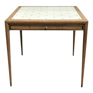 Mid Century Modern Blonde Wood, Brass & Tooled Leather Games Table