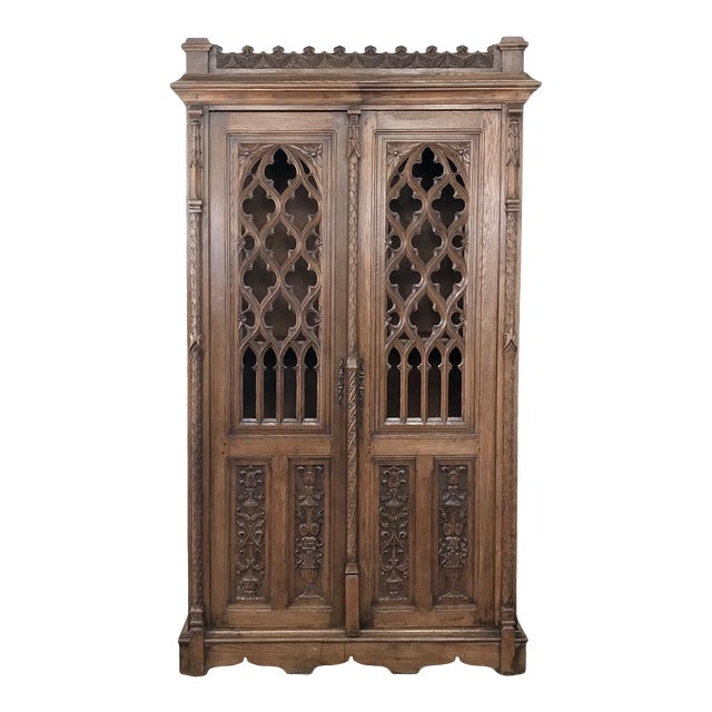 19th Century French Gothic Bookcase ~ Vitrine For Sale