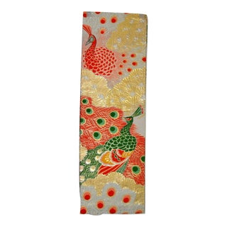Embroidered Japanese Peacock Obi Textile Art For Sale