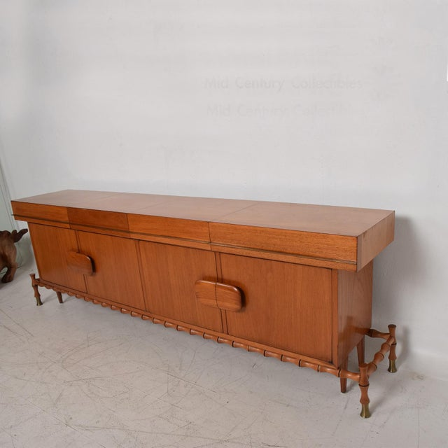 Midcentury Mexican Modernist Floating Bamboo Credenza, Frank Kyle, 1960s For Sale - Image 9 of 12