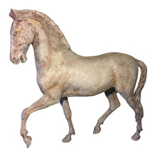Antique Finish Metal Horse Sculpture With Stand For Sale