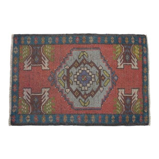 Distressed Low Pile Turkish Yastik Rug Faded Kitchen Sink Mat Matrix Color - 1'11'' X 2'10'' For Sale