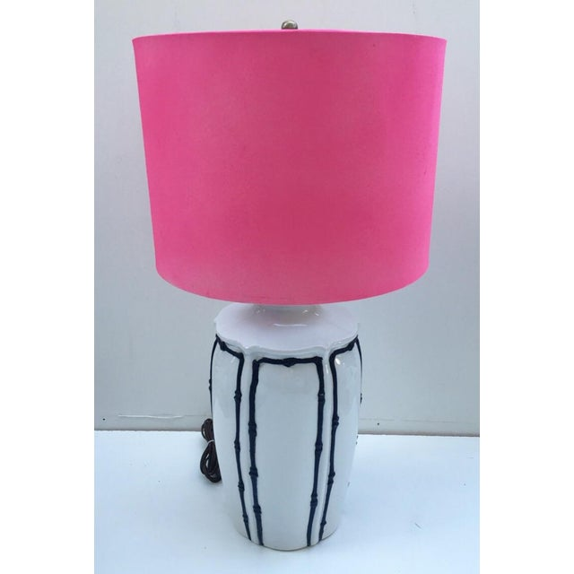 Navy & White Icing Style Bamboo Lamp - Image 2 of 6