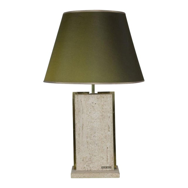Travertine and Brass Lamp Signed by Camille Breesch, 1970s For Sale - Image 9 of 9